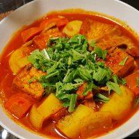 ベーコンと厚揚げのトマトスープ