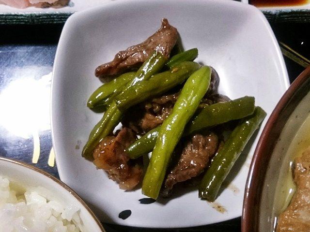 牛肉といんげんの炒めもの