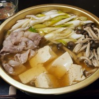 豚肉とネギの湯豆腐